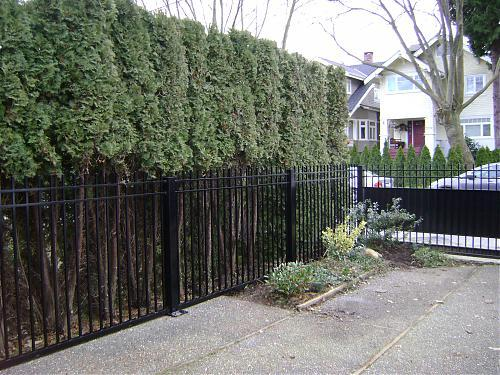 Railings to match a half-panel aluminum driveway gate